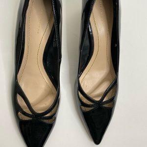 Zara patent Pointed Toe Kitten Heel Black Size 38